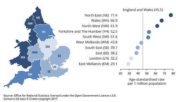 Drug deaths in England & Wales 2017
