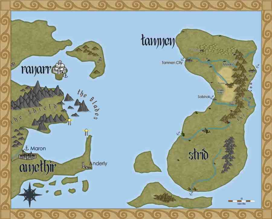 A map of the countries of Tamnen, Strid, and the Long Coast from the Storms in Amethir fantasy series
