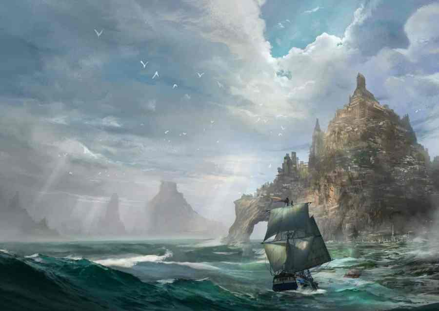 Digital art by Phuoc Quan of the City-State of Ranarr, the White Stone, from Storms in Amethir by Stephanie A. Cain