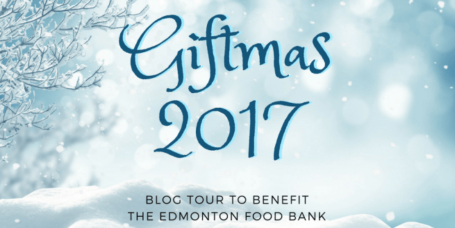 Blue and white Giftmas 2017 logo for the blog tour to benefit the Edmonton Food Bank