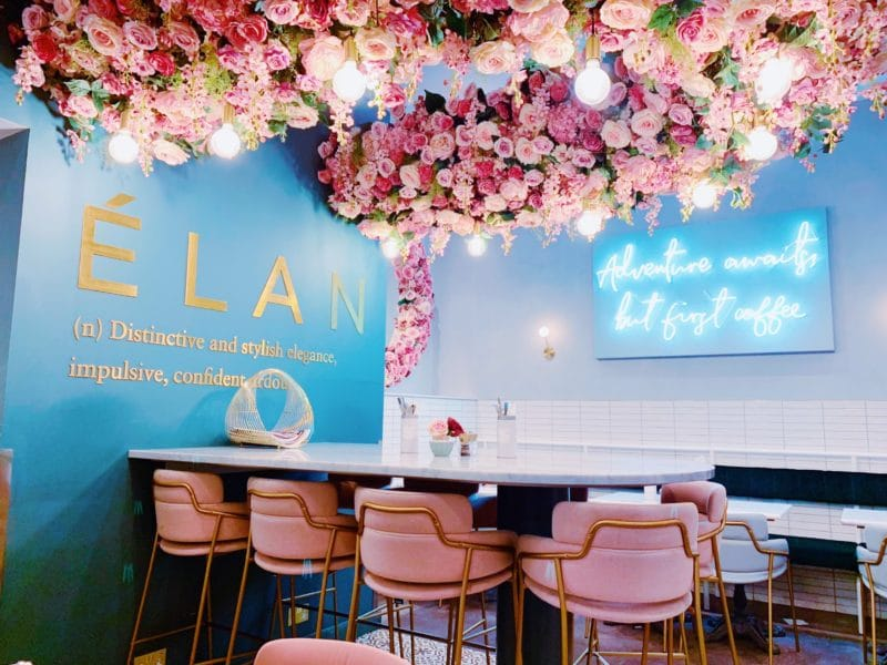 Beyond the flower walls of Elan Cafe, London