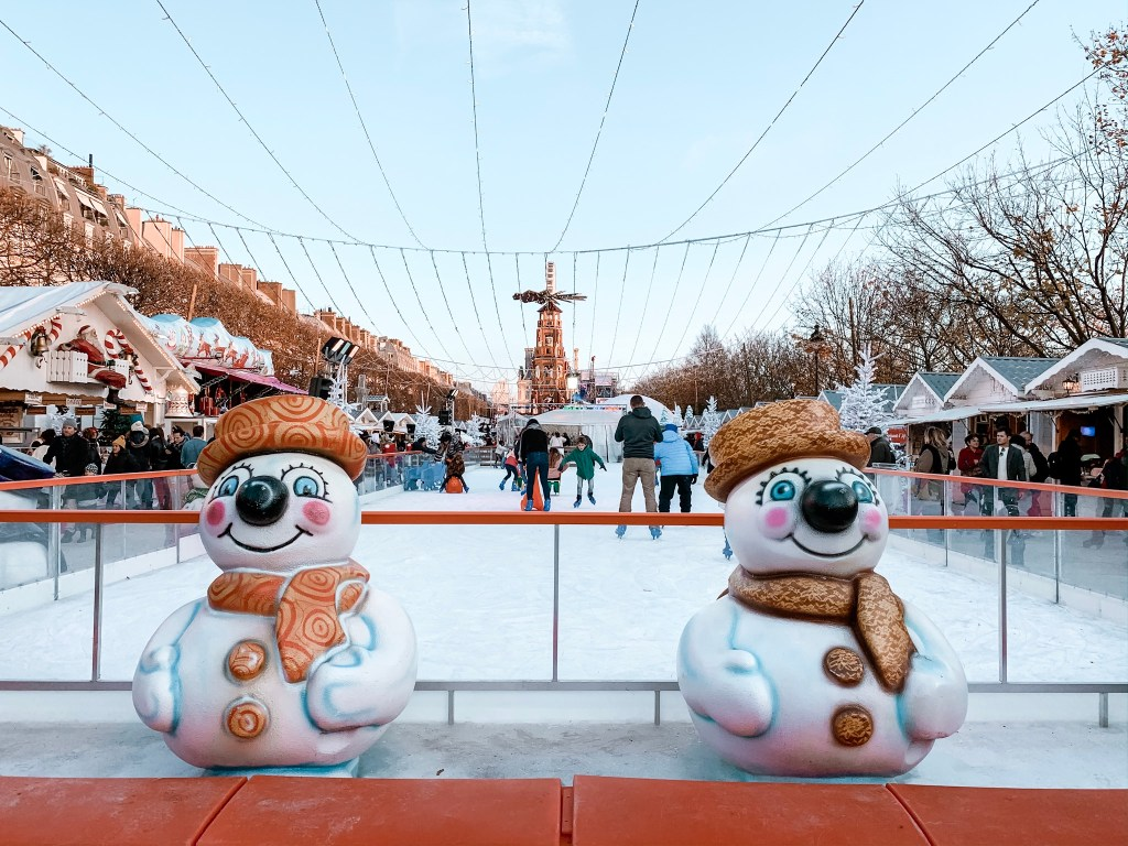ice rink at paris christmas market