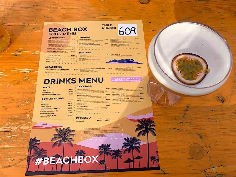 Menu and cocktail at Beach Box, Jesmond
