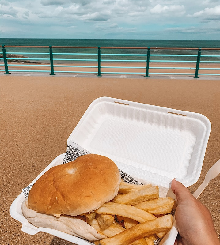 CHip butty by the sea Whitley Bay