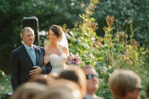 Sticks Objects of Art in Des Moines wedding with father walking his daughter down the aisle.