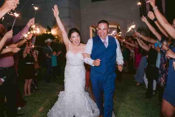 Sparkler exit at Thistlewood manor & gardens wedding