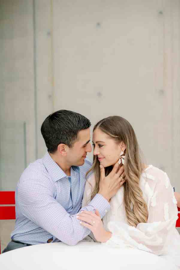 Romantic engagement session at kimball art museum