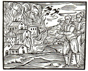 Burning down town Compendium Guazzo 1610