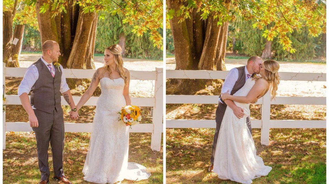 hold hands, bride, tattoo's, tattoo, yellow, flowers, pickett fence