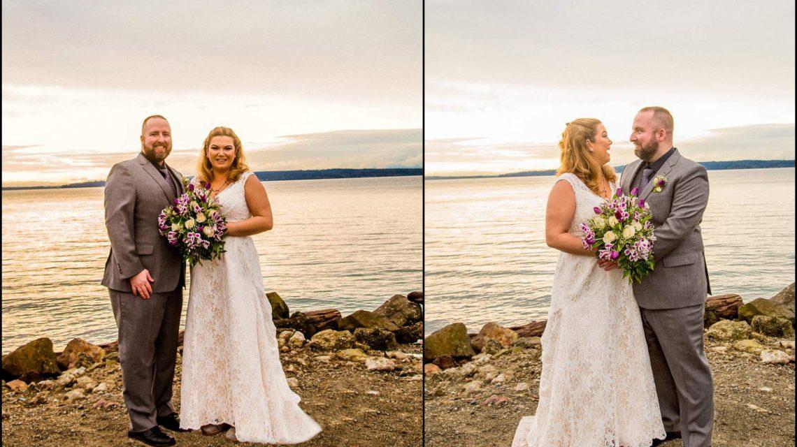 WATCHING SUNSETS TOGETHER | BEACH ELOPEMENT WEDDING EDMOND'S, WA