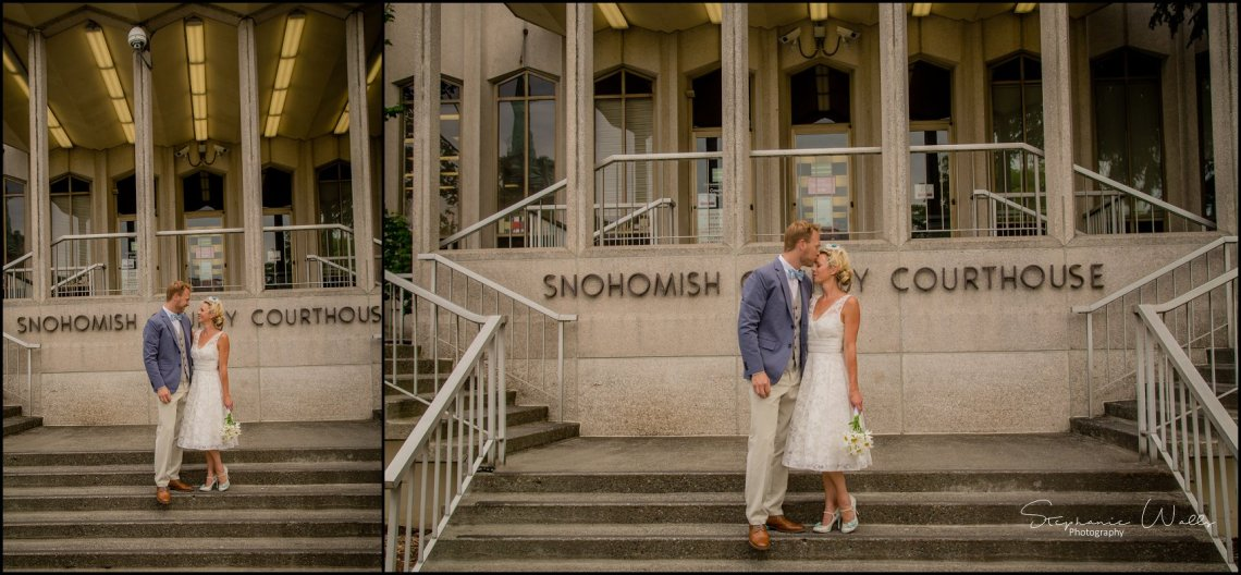 Hall Elopement009 Candace & Matthews Sweet Everett Court House Wedding Ceremony | Everett, Wa