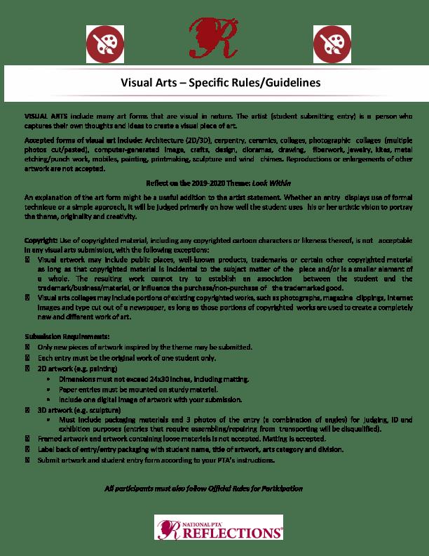 Reflections - Visual Arts Rules