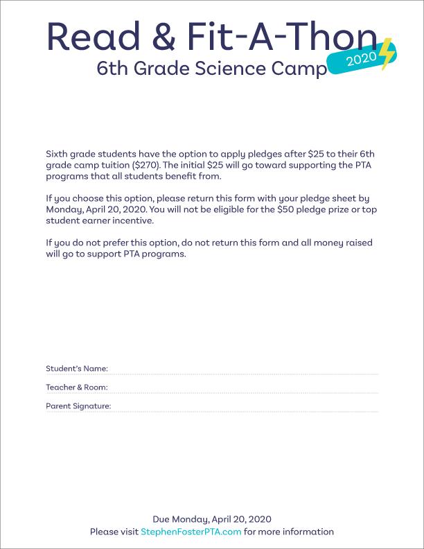 Read & Fit-A-Thon - 6th Grade Sheet