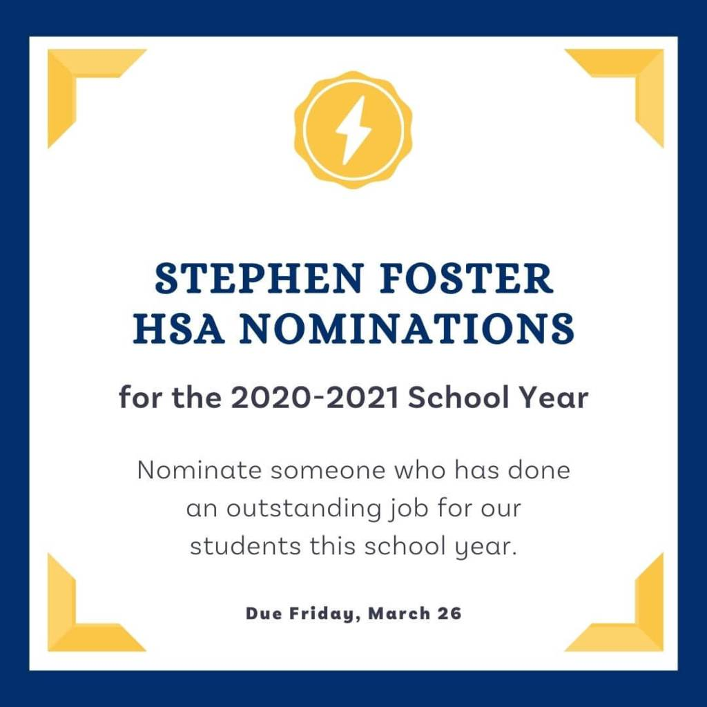 Stephen Foster HSA Nominations