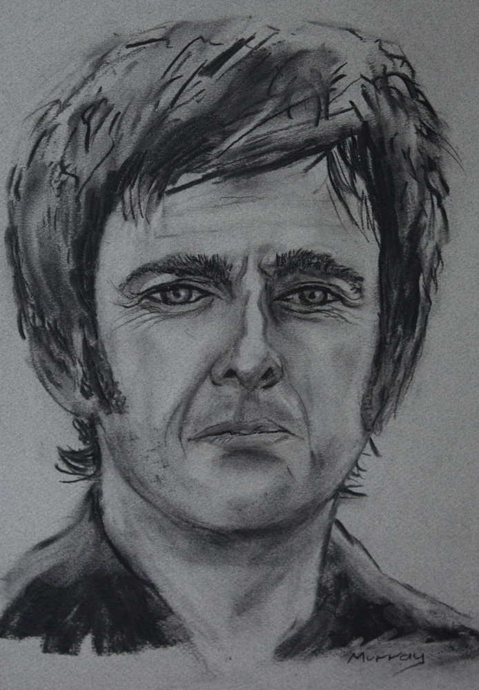 Noel Gallagher Charcoal Drawing by Artist Stephen Murray