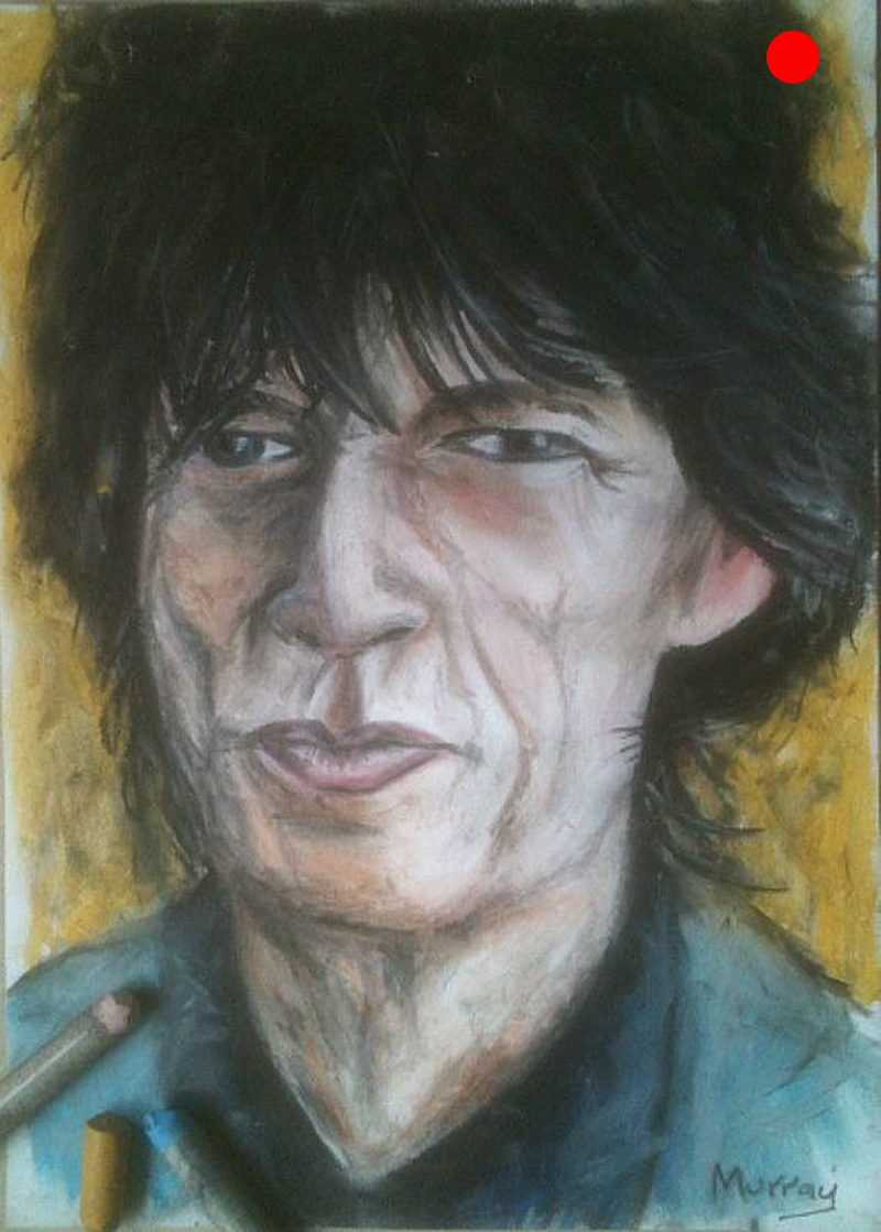Portrait of Mick Jagger. Oil Pastel Drawing by Glaswegian artist Stephen Murray
