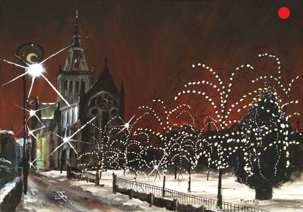 Glasgow Cathedral at Christmas. Painting by Scottish artist Stephen Murray