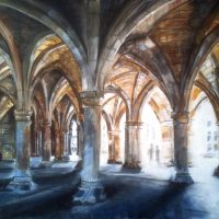 Glasgow University Cloisters. Painting by Glaswegian artist Stephen Murray