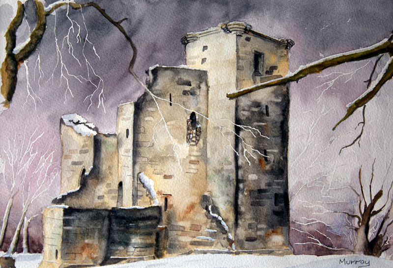 Crookston Castle, Glasgow, Scotland. Watercolour painting by artist Stephen Murray.