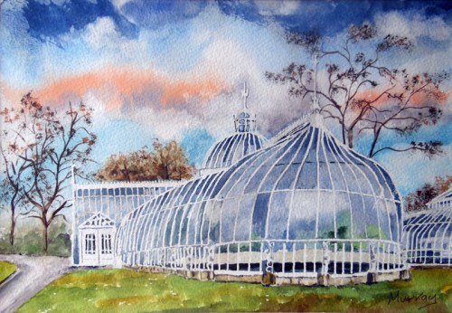 Botanic Gardens, Glasgow, Scotland. Painting by artist Stephen Murray.