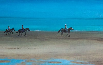 Riders on Southerness Beach, Dumfries and Galloway, Scotland.