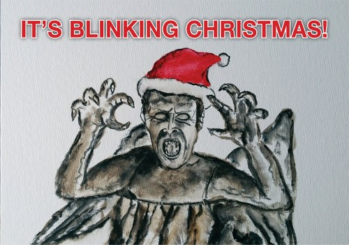 Weeping Angel Christmas Card Dr Who Stephen Murray Art