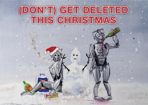 Cyberman Christmas Card Dr Who Stephen Murray Art