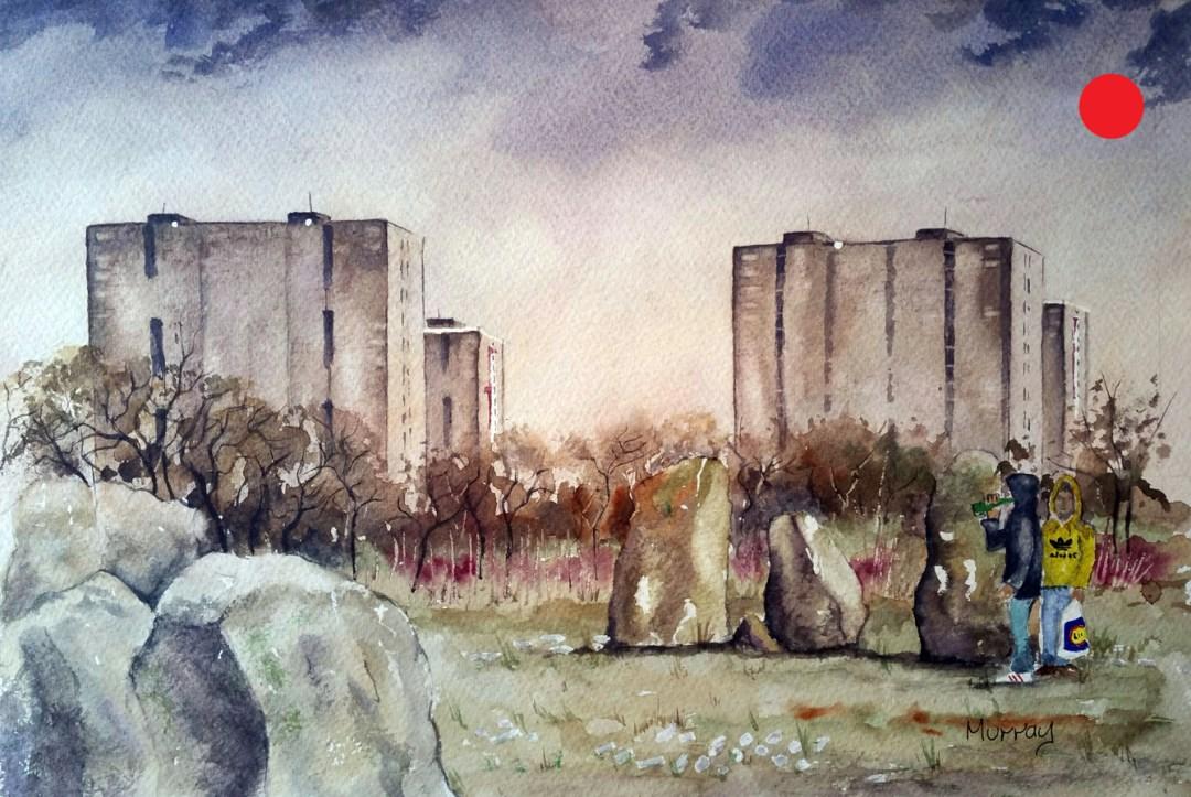 Tower Block Stones, Glasgow, Scotland.