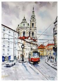 Tram in Prague Stephen Murray Art
