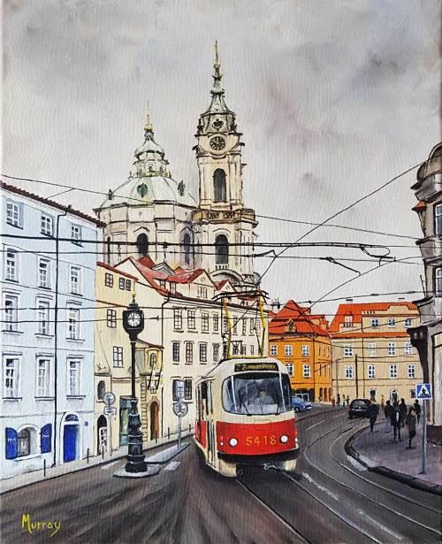 Tram, Prague, Czech Republic Painting Stephen Murray Art