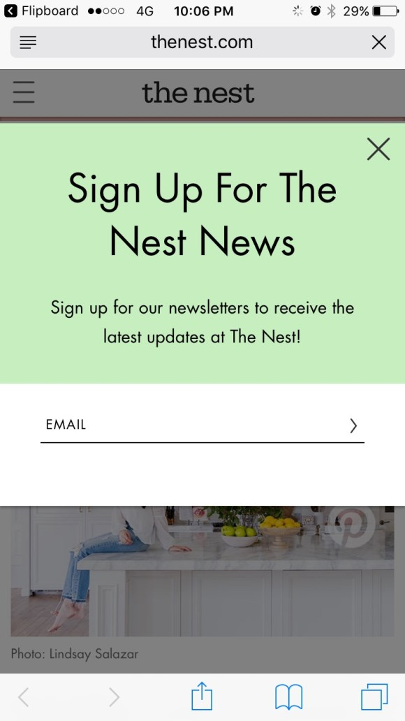 The Next newsletter signup box