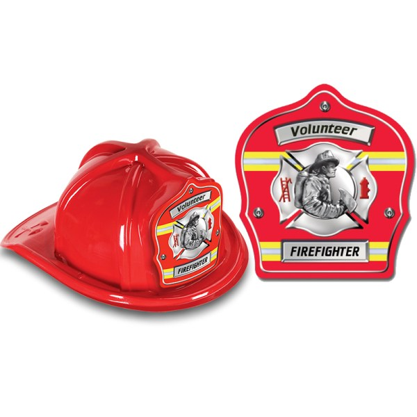 DELUXE Fire Hats - Volunteer Firefighter Red Design (Stock ...