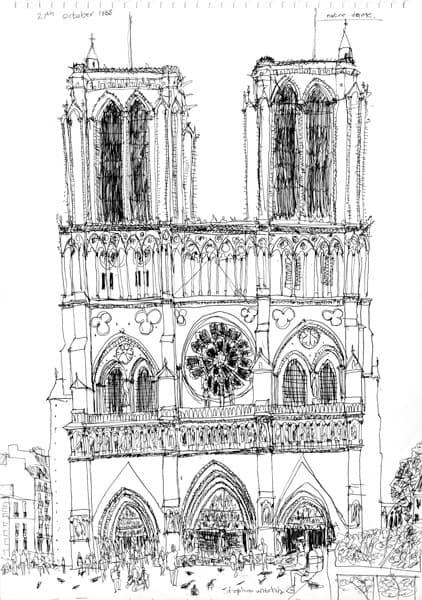 Notre Dame Paris 1988 Original Drawings Prints And