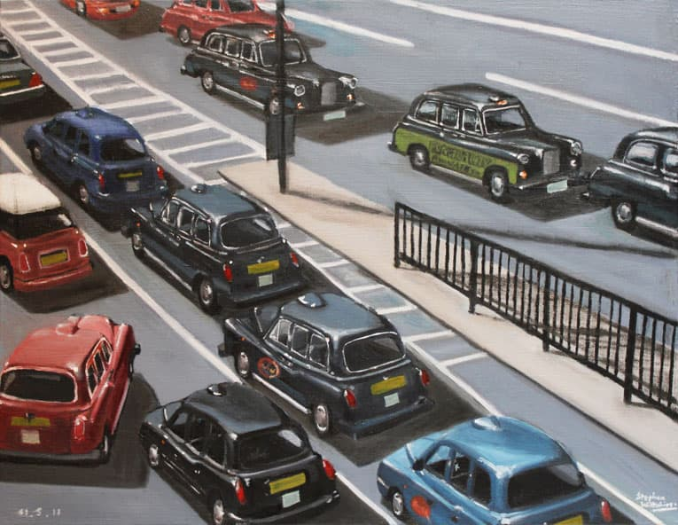 London Taxi Cabs - oil on canvas - drawings and paintings by Stephen Wiltshire MBE
