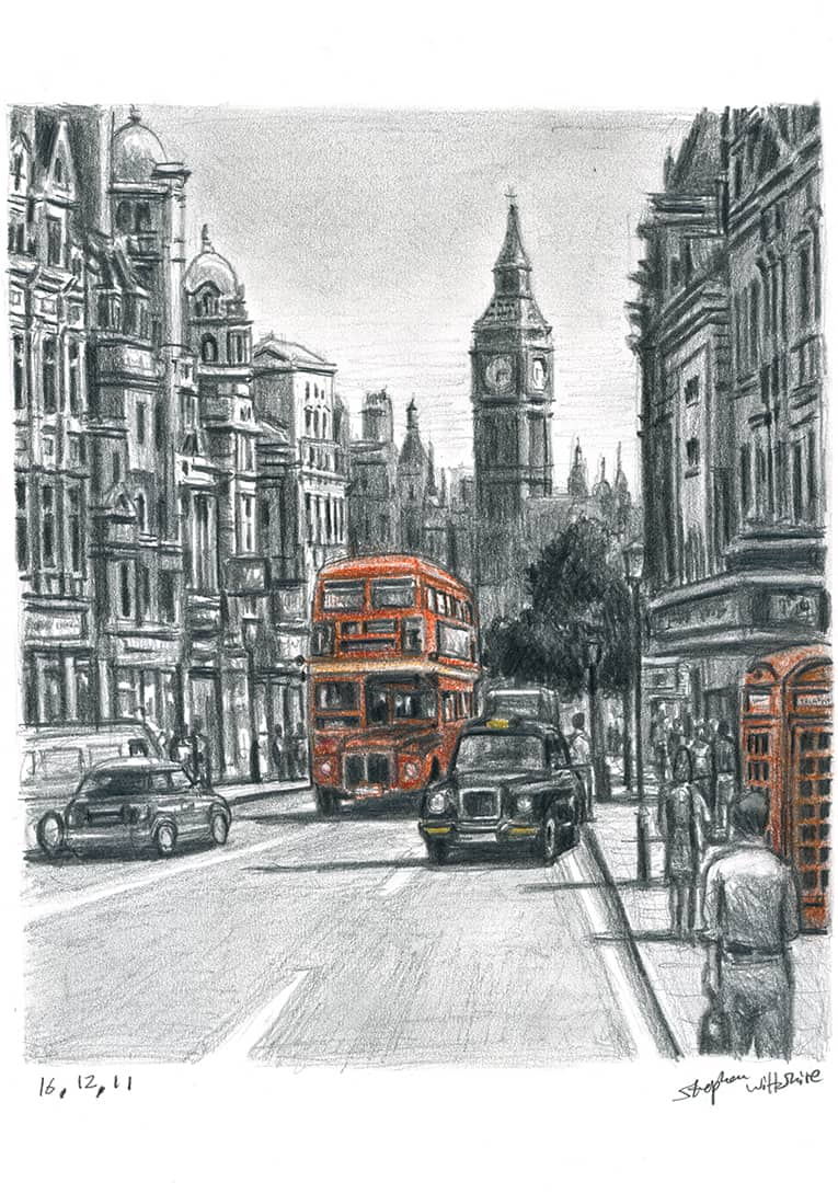 Whitehall in summer - drawings and paintings by Stephen Wiltshire MBE