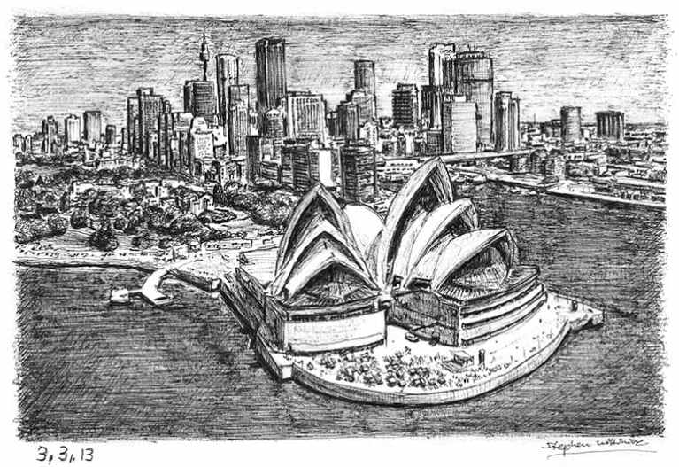Sydney Opera House and skyline drawing by Stephen Wiltshire