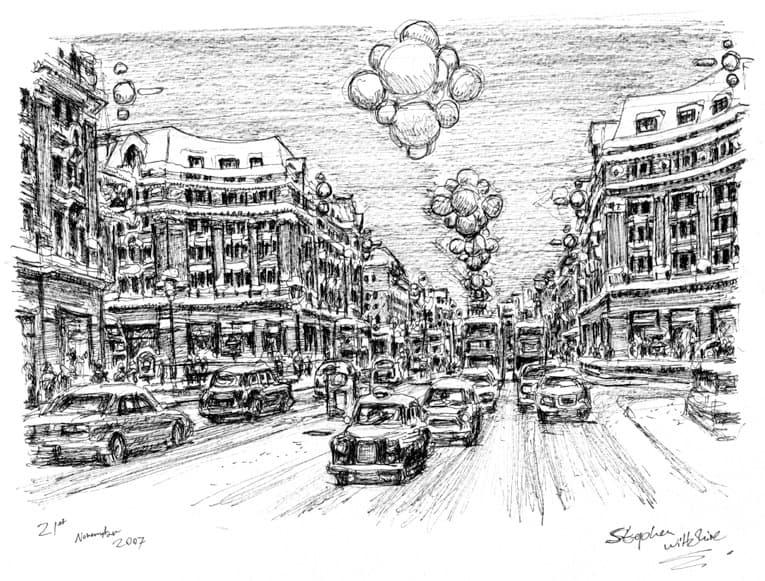 Regent Street At Christmas Original Drawings Prints And