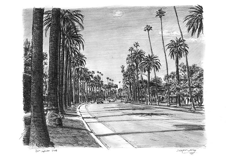 Beverly Drive in Beverly Hills - drawings and paintings by Stephen Wiltshire MBE