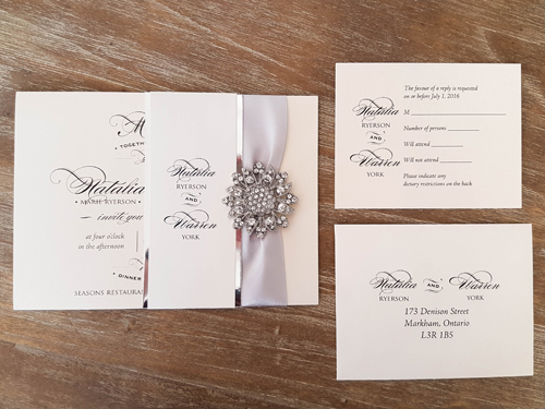 Wedding Invitation 1649 White Gold Silver Ribbon Brooch Buckle