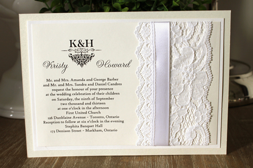 Wedding Invitation 1107 White Gold Pearl