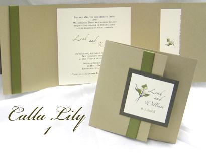 Wedding Invitation Callalily1 Gold Pearl Sage Cream Smooth Zaphino One