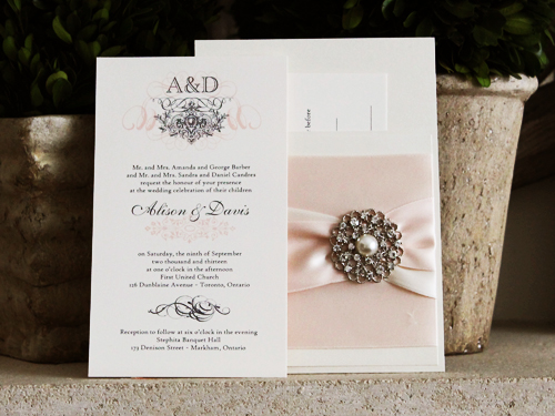 Wedding Invitation 775 Chagne Pearl Cream Smooth Sey Volante