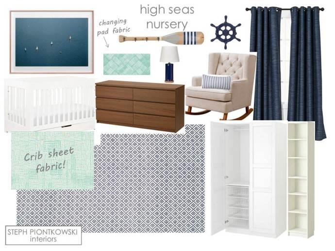 Steph Piontkowski Interiors High Seas Nursery Moodboard