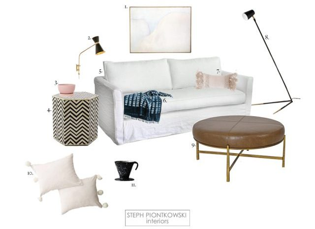 Feminine Modern Living Room by Steph Piontkowski Interiors