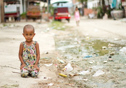 Girl on filthy street