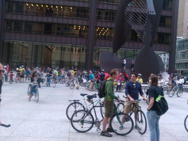 Biker riders in downtown Chicago