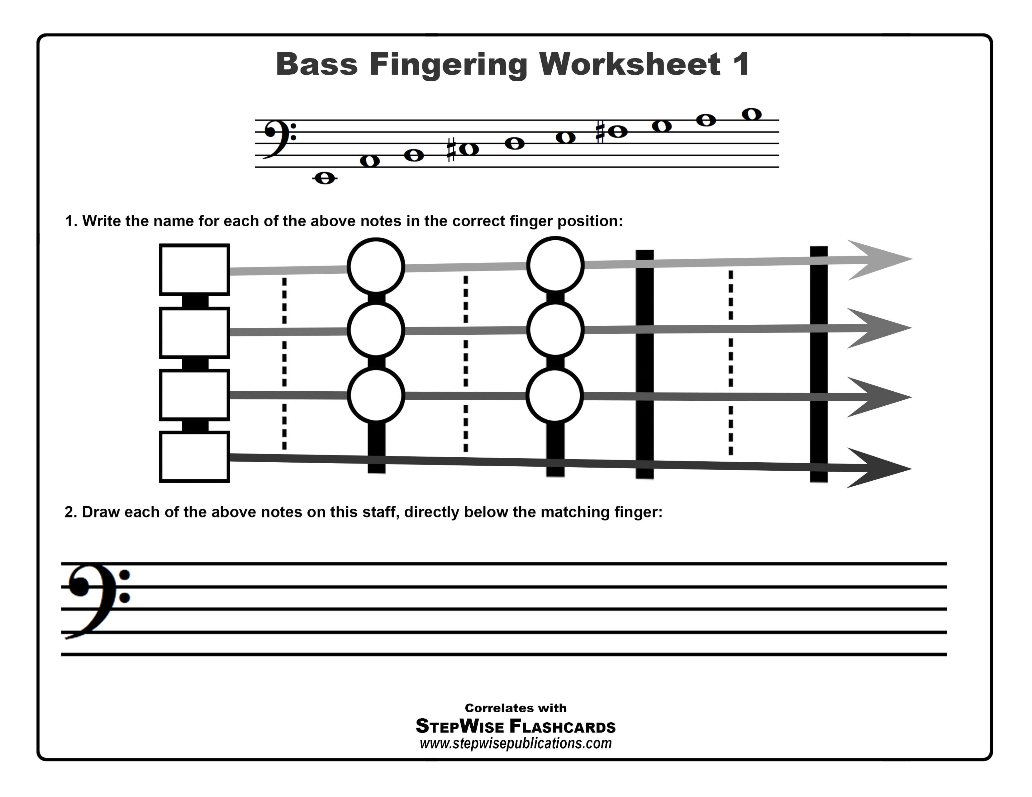 Note Amp Fingering Worksheets String Orchestra Set