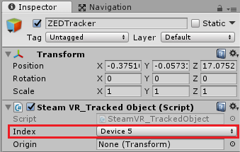 Setting SteamVR Tracked Object device in Inspector
