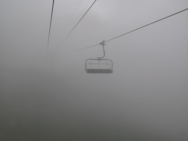 Thick clouds on L'Index chairlift