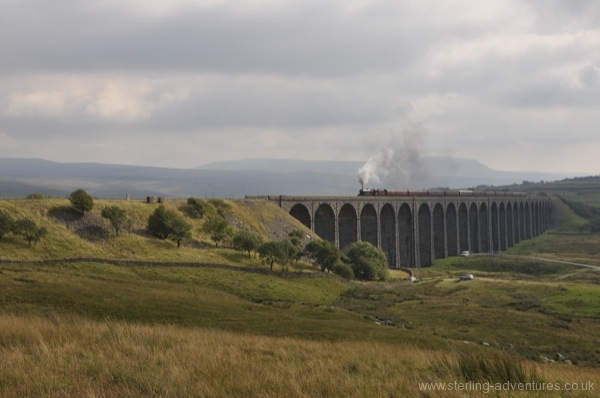 "Steam Loco ""Leander"" crosses the Ribblehead Viaduct"